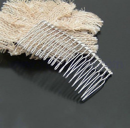 Wholesale Teeth Crafts - 100pcs lot 20 tooth Twist Wire metal Silver Hair Comb Wedding Bridal Accessory Veil Crafts DIY jt034