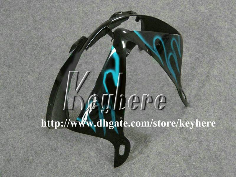 Gratis 7 geschenken aangepaste ABS Plastic Fairing Kit voor Yamaha YZF R6 2005 YZFR6 05 YZF600R-ballen G8N Lichtblauwe vlammen Zwarte motorfiets carrosserie