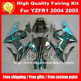 Wholesale Custom R6 Plastics - Free 7 gifts Custom ABS plastic fairing kit for YAMAHA YZF R6 2005 YZFR6 05 YZF600R fairings G8n light blue flames black motorcycle bodywork