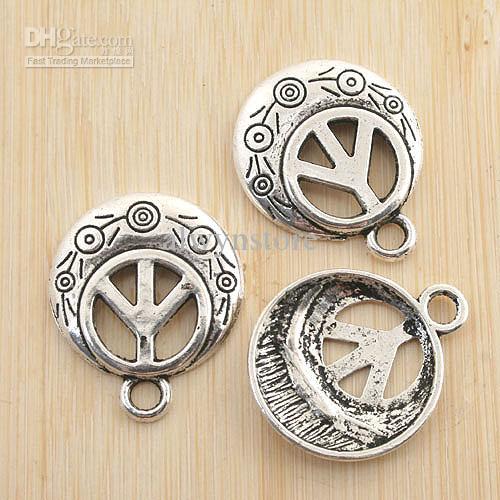 antiqued prata rodada sinal de paz pingente charme G1206