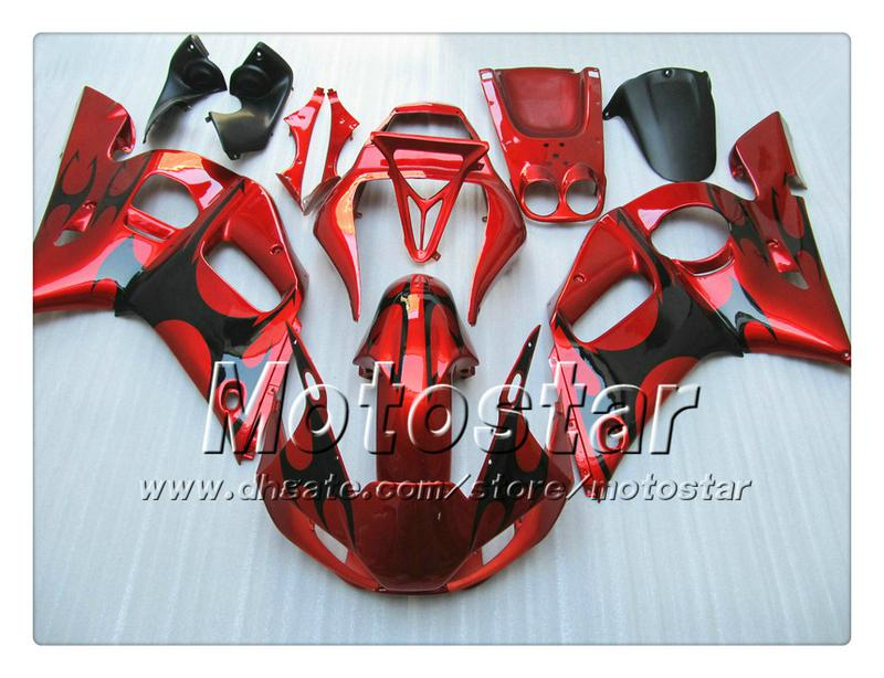 Fairing bodykit for YAMAHA YZF-R6 1998 2001 2002 YZFR6 YZF R6 YZF600 black flame in glossy red fairings set with 7 gifts PP90