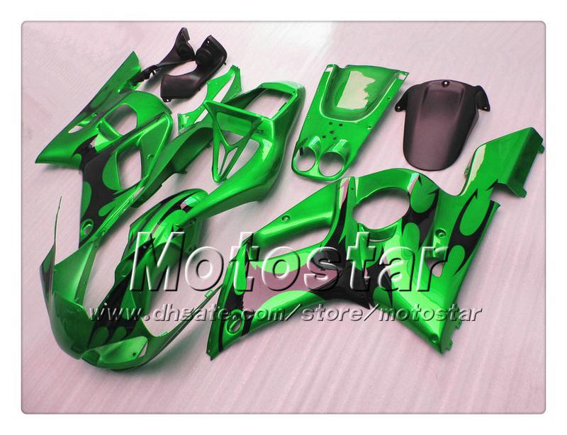 Kuiken Body Kit voor Yamaha YZF-R6 1998 2002 YZFR6 YZF R6 YZF600 Zwarte vlam in glanzende groene kabelset met 7 geschenken PP92