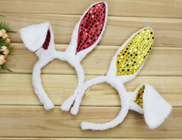 Wholesale Halloween Bunny Costume - 25pcs lot Shinning Many Colors Rabbit Costume Bunny Ears Bunny Costumes for Halloween Paryt MA34