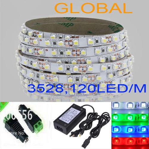 blu bianco rosso caldo LED Strip Light 5m 3528 SMD Flessibile non impermeabile 600 LED 2500 Lumen Con connettore con alimentazione 4A Via DHL