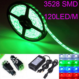 Wholesale 12 Led Strip Lights - LED Ribbon blue white yellow red warm LED Strip Light 5m 3528 SMD Flexible Waterproof 120LED M 600LED With connector with 12 4A power supply