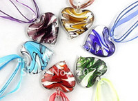 Wholesale Baroque Style Necklace - 24pc Baroque Style Mix Color Fashion 3D Flower Heart Lampwork murano glass beaded pendant necklace jewelry
