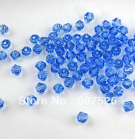 Wholesale 6mm Bicone Beads Free Shipping - 6MM 720Pcs Lot Mix color Hole through Bicone Crystal glass loose Beads Jewelry accessories free shipping