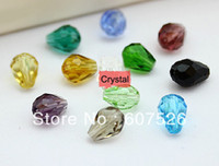 Wholesale Through Hole 8mm - 8MM 300Pc Lot Mix color Hole through Waterdrop Crystal glass loose Beads Jewelry accessories free shipping