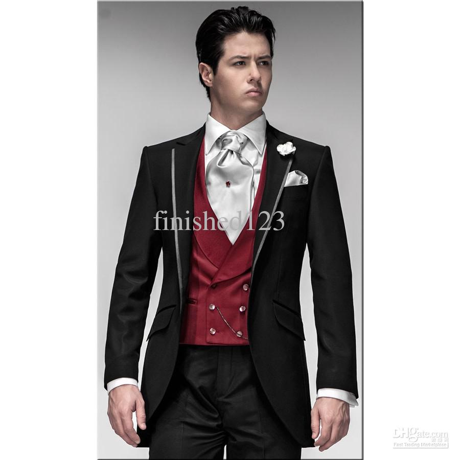 New Design Black Groom Tuxedos Groomsmen Men Blazer Wedding Suits ...