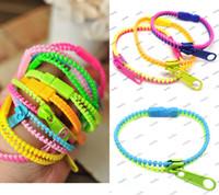 Wholesale New Zip Bracelet Wristband - NEW Zipper Bracelet Popular Wristband Candy Bracelet Hip Hop Plastic Metal Zip Bracelets Mix Color 100pcs