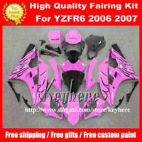 ingrosso corredo di corsa di yamaha r6-7 regali personalizzati Kit carena da gara per YAMAHA YZFR6 2006 2007 YZF R6 YZF600R 06 07 carene g7m nuovo nero fiamme rosa carrozzeria moto