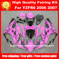 yamaha r6 rennverkleidungskit großhandel-Kostenlose 7 Geschenke Benutzerdefinierte Rennverkleidung Kit für YAMAHA YZFR6 2006 2007 YZF R6 YZF600R 06 07 Verkleidung g7m neue schwarze Flammen rosa Motorrad Karosserie