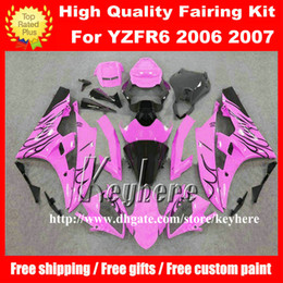 Free 7 gifts Custom race fairing kit for YAMAHA YZFR6 2006 2007 YZF R6 YZF600R 06 07 fairings g7m new black flames pink motorcycle bodywork