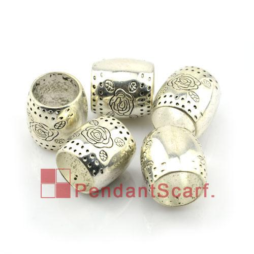 Hot Fashion DIY Jewellery Scarf Pendant Silver Plated Plastic CCB Flower Design Slide Bails Tube, AC0085