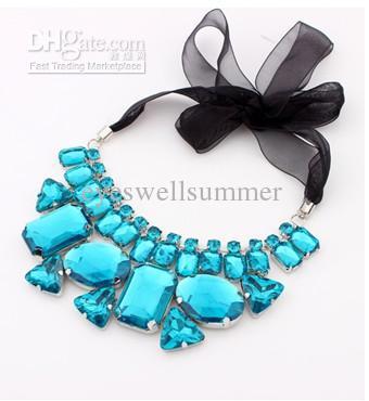 Wholesale - New Statement Colorful Rhinestone Crystal Black Ribbon Tie Bib Collar Necklace,Fashion Chokers For Women