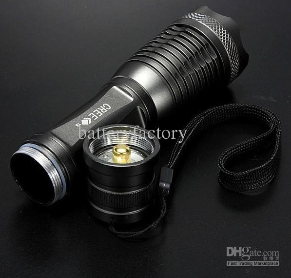 High power 1800 Lumen Zoomable CREE XM-L XML T6 LED 18650 Flashlight Torch Zoom Lamp Light by 18650 battery E7(Gray Color)