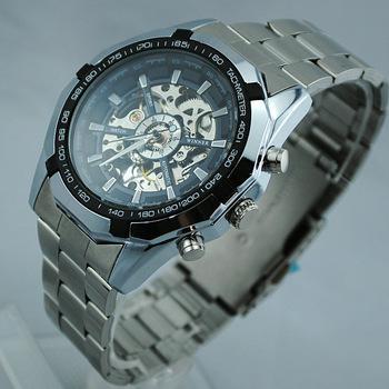 Hot 2021 Vincitore dell'acciaio inossidabile Brand Auto-Vento Scheletro automatico degli orologi, orologio da polso da uomo DHL spedizione