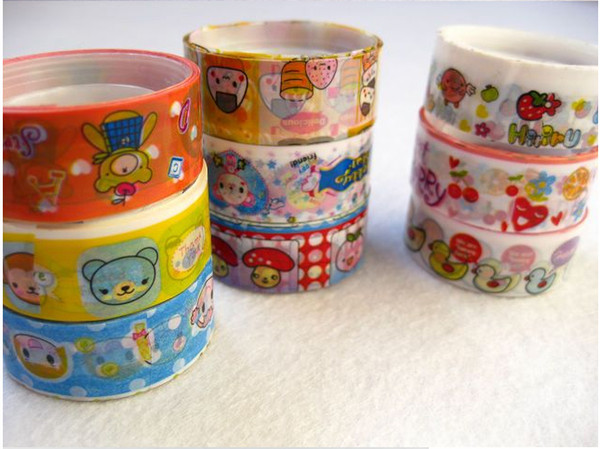 best selling DIY Mini Cartoon Tape Sticker Rolls Decorative Deco Duct Retail Packing Cute Colorful Lowest Price Free Shipping