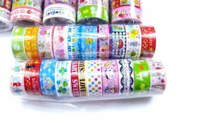 Belle Mignon de Bande Dessinée Coloré Bande DIY Tissu Grille Autocollants Mignon Papeterie Créative Le Plus Bas Prix Livraison Gratuite