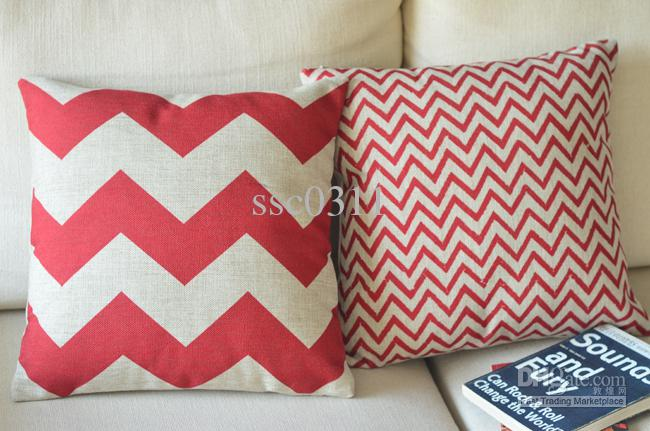 Red wavy stripes pillow cover,2pcs pastoral rustic cushion sofa  cover---Free Shipping