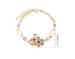 Discount metal gold bracelets - New Fashion Golden Metal Colorful rhinestone swan bracelet adjustable
