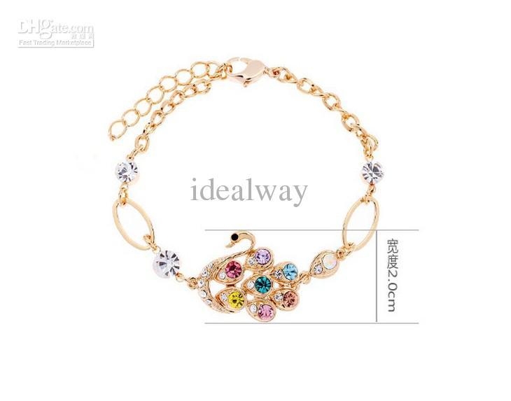 Yeni moda altın metal renkli elmas kuğu bilezik ayarlanabilir