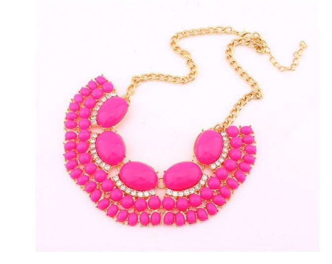 New Fashion Style Metal dourado da bolha Declaração Fringe Bib Jelly Colar Para Mulheres