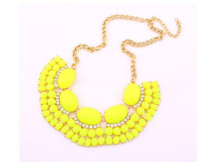 Il nuovo modo metallo dorato Style Bubble Fringe Bib Dichiarazione Jelly collana le donne