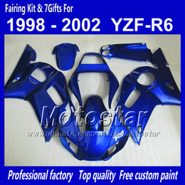 yamaha r6 fairing kit blue Canada - Fairing body kit for YAMAHA YZF-R6 1998 1999 2000 2001 2002 YZFR6 YZF R6 YZF600 all glossy blue fairings set with 7gifts QQ35
