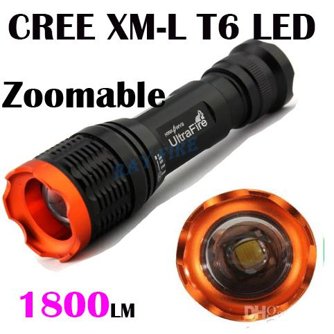 top popular Tactical 12W 1800lumen CREE XML XM-L T6 Zoomable focus flashlight torch by 18650 batttery 7 mode kc-01 2021