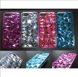 Wholesale Cheap Case Iphone Diamond - Cheap Factory Special 3D Ultra Thin Rhombus Diamond Clear Crystal Hard Plastic Color Rugged Back Case Cover For Apple iphone 5 5S 5G