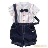 Wholesale Baby Boy Summer Formal Suit - Summer Baby 2pcs Set Infant Toddler Boys Bow Tie Stripe Lapel Cotton Shirt +Suspender Denim Shorts Children Formal Clothes Suit 0142