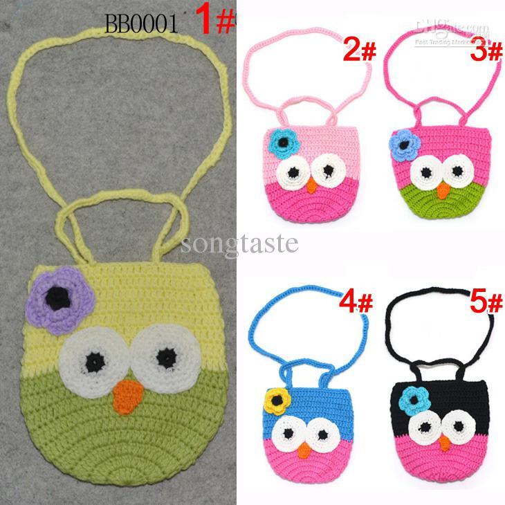 baby crochet handbags baby girls handmade owl pattern bags knitted coin purse children swagger