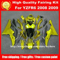 yamaha motosiklet fairings satışı toptan satış-Ücretsiz 7 hediyeler YAMAHA YZFR6 2008 2009 için Özel yarış kaporta kiti YZF-R6 YZF600R 08 09 fairings g1p sıcak satış siyah altın motosiklet karoser