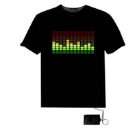 Wholesale Sound Activated Led Shirt Panel - Fast Free Shipping Fantastic EL Sound Activated Flashing Light Up Down Music Party Equalizer LED T-Shirt Custom Patterns Panel, 100PCS LOT
