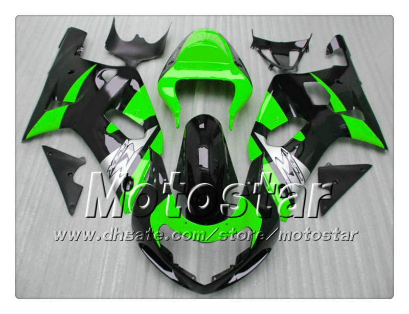 Carene carrozzeria SUZUKI GSXR 600 750 K1 2001 2002 2003 GSXR600 GSXR750 01 02 03 R600 R750 carenatura verde nero lucido
