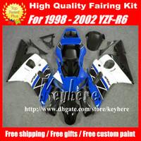 kit carrosserie yamaha r6 achat en gros de-Kit de carénage gratuit 7 cadeaux pour YAMAHA YZF R6 1998 1999 2000 2001 2002 YZFR6 YZF600R 98 99 00 01 02 carénage YZF-R6 G7m blanc noir bleu corps