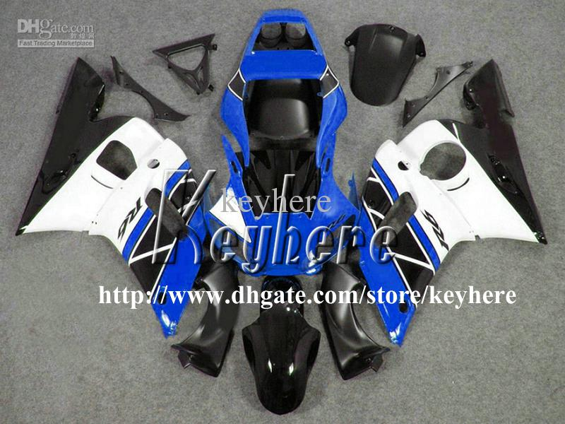 Kit carena 7 regali YAMAHA YZF R6 1998 1999 2000 2001 2002 YZFR6 YZF600R 98 99 00 01 02 Carene YZF-R6 G7m corpo bianco nero blu