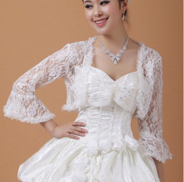 Wholesale Lace Wedding Dress Coats - New style Bridal Wedding Dress Prom Gown Lace Jacket Bolero Shrug Coat 4 color u pick P05