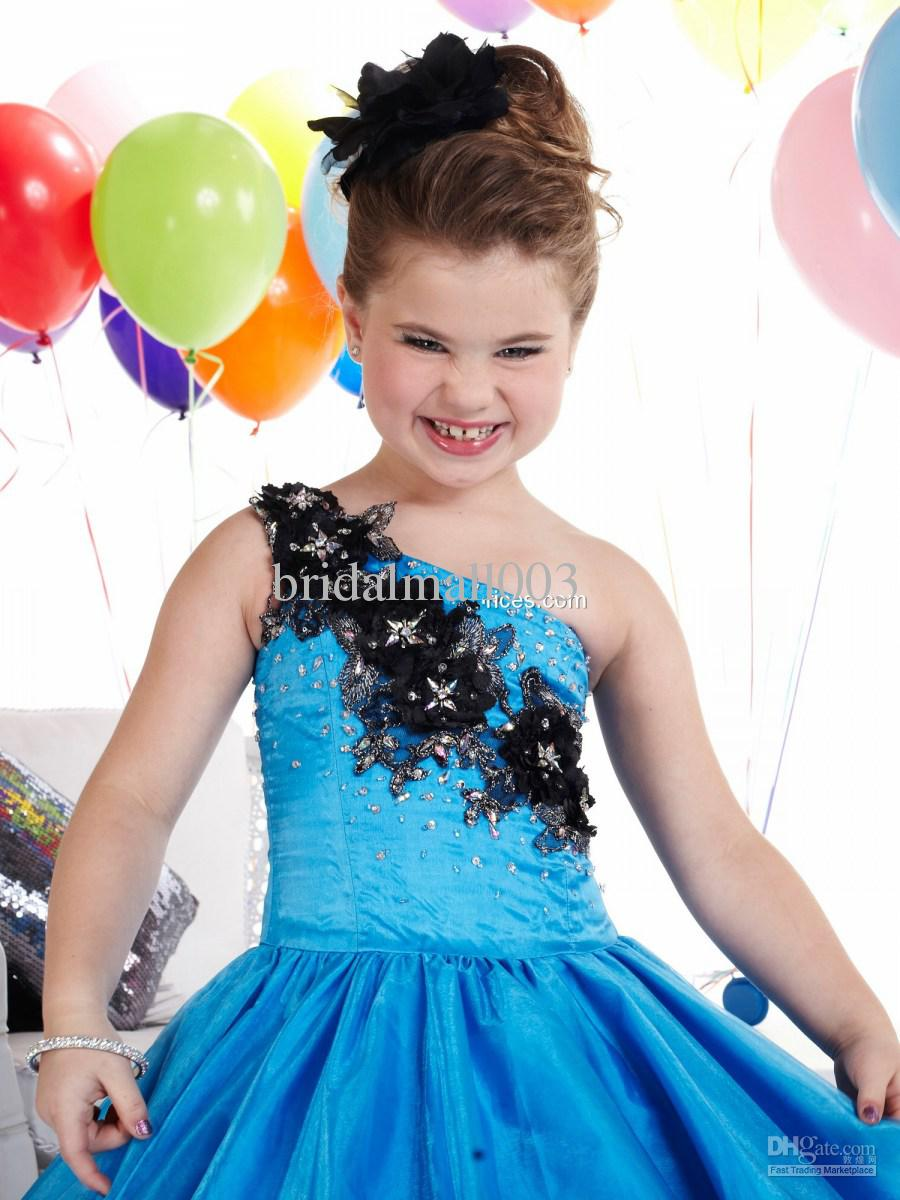 New Style Ball Bown Flower Girl Dress Patterns One Shoulder Lace Up ...