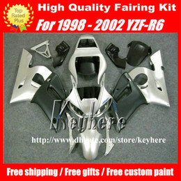 R6 Yamaha Part Canada - Free 7 gifts fairing kit for YAMAHA YZFR6 1998 1999 2000 2001 2002 YZF600R YZF R6 98 99 00 01 02 fairings G8n black silver motorcycle parts