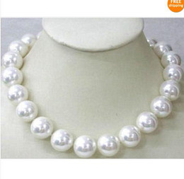 """Wholesale Rose Gold Pearl Necklace - Huge ! AAAA 16mm 18"""" Natural Gorgeous white shell pearl necklace"""