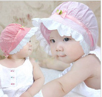 Wholesale Ruffled Brim - Summer Children Girls Princess Bowknot Rosette Stripy Ruffles Lace Wide Brim Hats Kids Cute Sunbonnet Girls Hats B0548