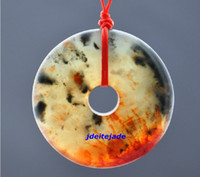 "Wholesale Carved Yellow Jade Necklace - Natural Ice red yellow jadeite jade hand-carved ""Ping An Kou"" charm pendant"