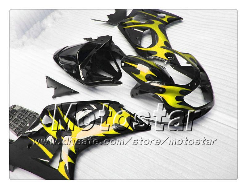 carenagens carroçaria para SUZUKI GSXR 600 750 K1 2001 2002 2003 GSXR600 GSXR750 01 03 R600 R750 chama amarela na carenagem ABS preto