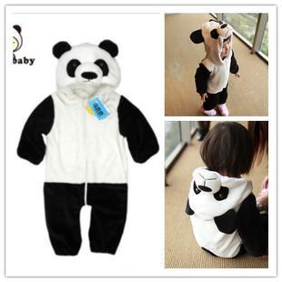 2013 novo estilo bebê Panda Romper adorável manga comprida Animal modelagem vestuário BoyGirl's subir roupas com chapéu frete grátis