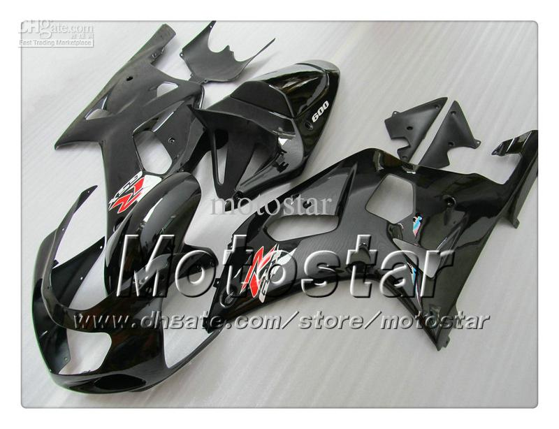 Bodywork fairings for SUZUKI GSXR 600 750 K1 2001 2002 2003 GSXR600 GSXR750 01 02 03 R600 R750 glossy black fairing set RR15