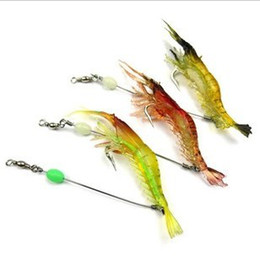 Wholesale Wire Leaders - 10cm soft shrimp prawn lure rigs with wire boom wire leader lure