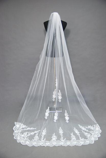 2016 Nobre Branco Marfim Casamento Véu de Noiva Apliques de Renda Catedral Trem Tule Véu Véu ZJ121