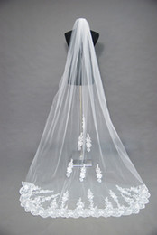 Wholesale Training Face - 2016 Noble White Ivory Wedding Bridal Veil Lace Appliques Cathedral Train Tulle Veil Face Veil ZJ121